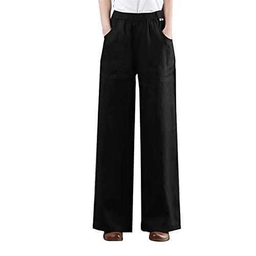 Liveinu Pantalón Ancho Mujer Pantalones de Lino Algodón con Cordón Elástica Casual Ocasionales Retro Pantaloens EU L = Tag 2XL Negro