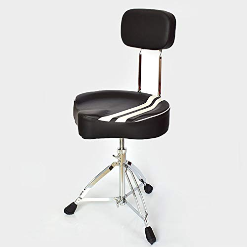 ABCSS Tamburo Regolabile Tamburo Sgabello Trono Sedile Imbottito,Drum Stool Rimovibile Universale Drum Throne Set (Colore :Nero,Size :45-65cm),Sgabello da Sella per Adulti con Schienale