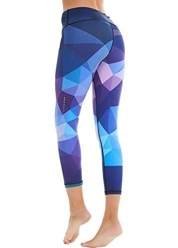 COOLOMG Damen Sport Leggings Yoga Hose Caprihose Fitnesshose 3/4 Sporthose Geometrie_lila M