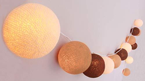 CREATIVECOTTON Guirlande Lumineuse, Boules de Coton avec Mode Timer et Mode Veilleuse (Cappuccino, 20 boules)