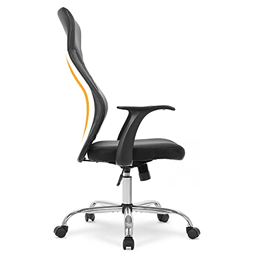 LANDSUN Home Office Chair Ergonomic High Back Mesh Desk Chair Cheap Swivel Task Chair Computer Chair with Armrest Headrest Support Adjustable Height Black
