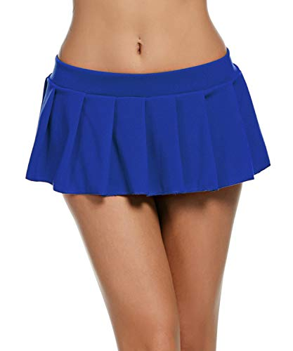 Avidlove Women Sexy Role Play Pleated Mini Skirt Ruffle Lingerie for Schoolgirl Blue