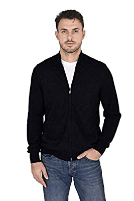 Cashmeren Men's Mock Neck Zip Up Cardigan Cashmere Wool Classic Knit Long Sleeve Zipped Down Sweater (Black, Large) from Cashmeren