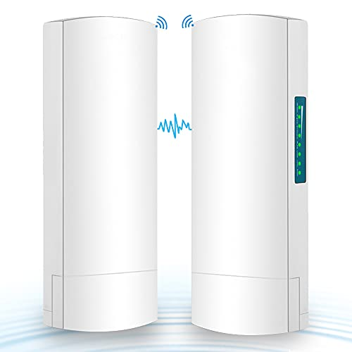 Point to Point Wireless Bridge, Riiai 5.8Ghz 100Mbps Outdoor CPE 3KM Long Range Transmission Distance with 14DBi High Gain Directional Antenna, PoE Adapter,2 RJ45, for Barn Garage Shop, 2-Pack