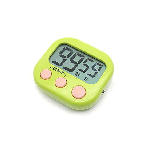 Temporizador digital electrónica cocina cocina nuevo reloj con alarma magnética y soporte, minuto segundo para arriba cuenta verde de cuenta regresiva, exhibición grande del LCD,Verde