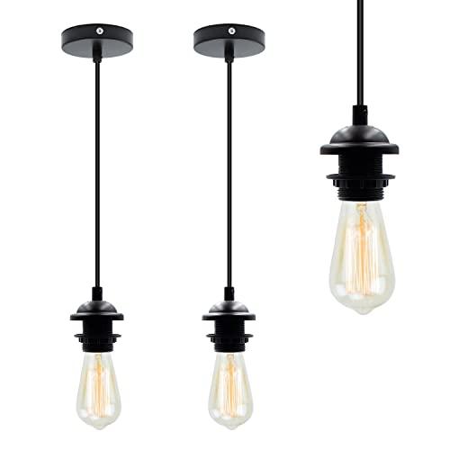 Portalámparas E27 2 unidades con cable de 1,2 m, base de lámpara de techo, luz industrial vintage, lámpara de interior, color negro