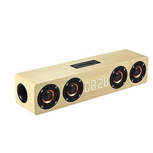GUOOO Altavoz Bluetooth, Reloj de Pantalla Grande LED, Efecto estéreo Bluetooth 5.0, gabinete de Madera, Adecuado para Fiestas, hogares, etc. 38.0 × 9.0 × 8.0cm Beige