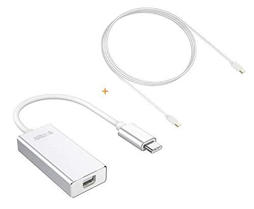 Adaptador USB-C a Mini DP (Hembra) con Mini DP a Cable Mini DP, ARKTEK USB Tipo C (Thunderbolt 3) a Mini DisplayPort con 5.5 pies Cable Mini DP Convertidor 4K para Nueva MacBook Pro 2016 2017 (Plata)