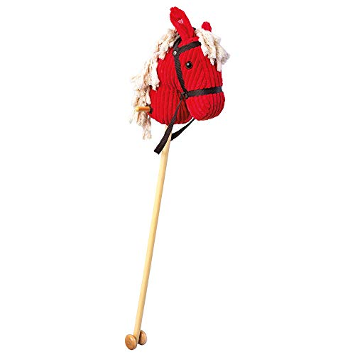 Bino 82549 Red Soft Hobby Horse On Wooden Stick with Rollers, Bridle and Sound Effects. Size: 24x23x100 cm