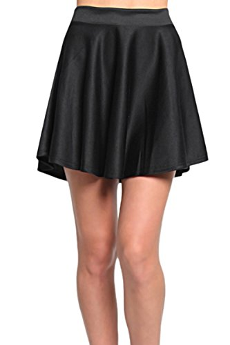 TheMogan Women's High Waisted A-Line Flared Circle Skater Mini Skirt Black S