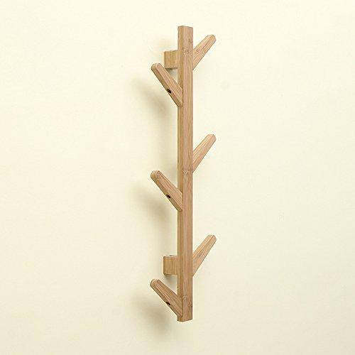 Tobaling Porte Manteau Mural Vertical en Bambou en Forme d'Arbre avec 6 Crochets pour Entrée Salon Chambre (Bois)