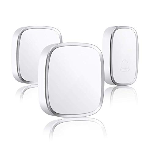 Wireless Doorbell Nursing Care for social distance self quarantine elderly and baby Maximum Range 1000 ft LED Indication Waterproof 36 musics option Voice Adjustable White(Two Receivers)