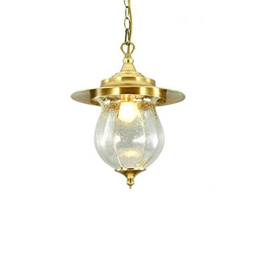 DULG American Country Luxury Antique Metal Cage Outdoor Pendant Light Fitting Waterproof IP65 Pergola Garden Brushed Brass Ceiling Hanging Lamp Glass Lantern Pergola Porch Chandelier Lighting E27