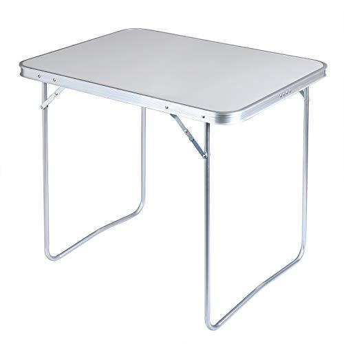 WOLTU CPT8128gr Campingtisch Klapptisch 80 x 60,5 x 70 cm Klappbar Gartentisch aus Alu und MDF für Picknick Strand im Freien, Grau