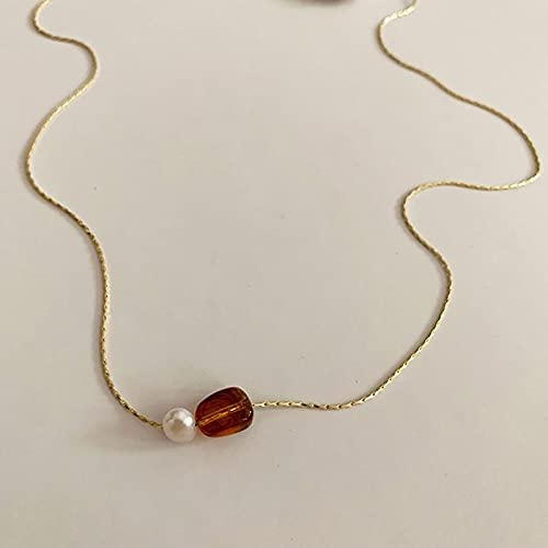 Zhouwei 14k Gold Plated Pearl Pendant Collar,Women's Necklace Pendant (Gem Color : 2, Length : Adjustable)