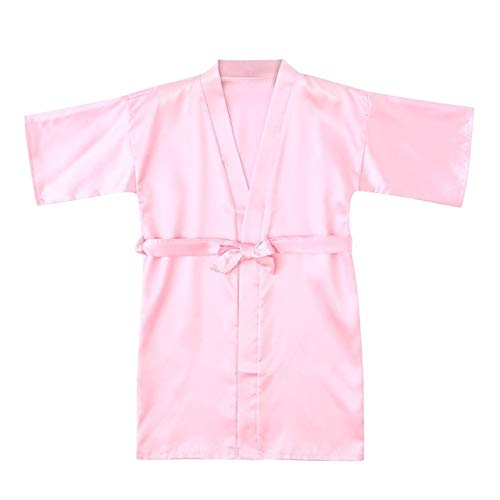 IAMZHL Batas de Verano sólidas Informales para niños y niñas, Batas de Kimono de satén de Seda sólida para bebés y niñas, Albornoz, Ropa de Dormir-a13-8-9Years