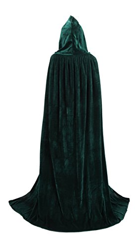 TULIPTREND Full Length Hooded Cloak Christmas Halloween Cosplay Costume CapeUS L (tag size XL (XL=170cm) Hunter Green
