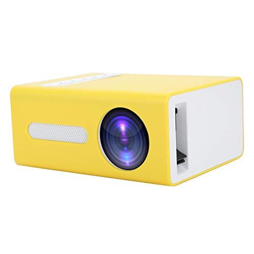 Goshyda Proiettore per Uso Domestico, videoproiettore Portatile AV a LED Videoproiettore per Videogiochi TV per casa con Telecomando, per Ingresso AV, USB, HDMI, Scheda di Memoria Piccola(Giallo)