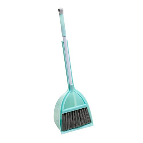 Xifando Mini Broom with Dustpan for Kids,Little Housekeeping Helper Set (Light Blue, Extended Size)