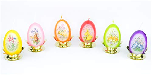 Auswahl * 6 Stück Eierkerzen Dekoeier Kerze Osterei Osterdeko * farbig Sortiert * mit österlichen Motiven * inkl. Kerzenständer aus Metall * 4,5 x 6,5 cm * Auswahl Menge