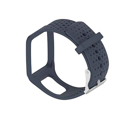 Correa de reloj de silicona de repuesto para TomTom Runner 1 / Multi-Sport/Golfer 1 - Correa de seguimiento de fitness con cierre (azul marino/gris)