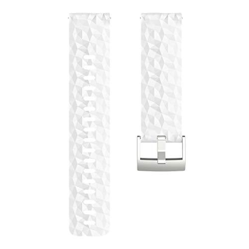B Baosity Silikon Verstellbare Ersatz Armbänder für Suunto 9 Baro, Bandbreite 25 mm - Weiß