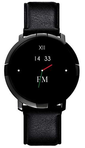 SmartWatch para hombre y mujer Florence Marley Platino Diseño Italiano 2 correas reloj negro correa piel fitness impermeable pulsómetro podómetro notificaciones IOS Android