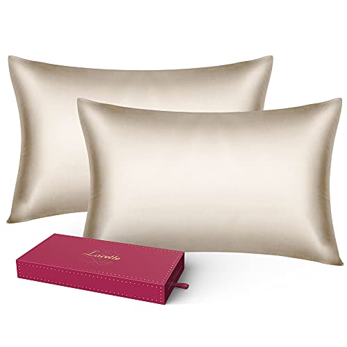 Silk Pillowcase, Standard Size Set of 2 Bed Pillowcases, Lacette 25 Momme Silk Pillow Cover for Hair and Skin with Hidden Zipper, 100% Pure Mulberry Silk/Microfiber (20x26inches, Champagne)