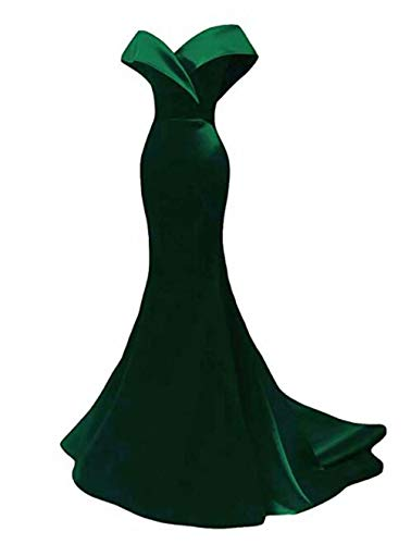 Off The Shoulder Mermaid Prom Dresses Long Satin Bridesmaid Dresses Wedding Party Gowns for Women Emerald Green
