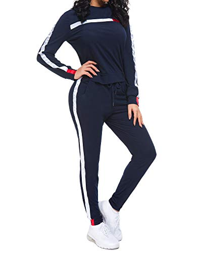 MINTLIMIT Trainingsanzug Damen 2 Stück Outfit Kurze Ärmel Streifen Jogginganzug Frauen Tracksuit Top T-Shirt Lange Hose Beiläufig Sport (Lange Marine, 2XL)