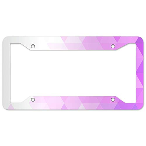 Bohohobo Triangle Pattern License Plate Frame 4 Pieces Design License Plate Frame With 4Holes Fite For Home white 16x31cm