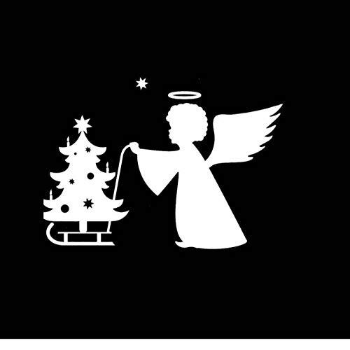 MUXIAND auto decor, vrolijke kerst engel 15x11cm PVC DIY motorfiets auto Sticker kunst accessoire creatieve spel stijl venster helm sticker aangepaste verjaardag cadeau 5 Stks