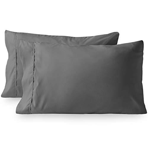Bare Home Premium 1800 Ultra-Soft Kids Microfiber Pillowcase Set - Double Brushed - Wrinkle Resistant (Standard Pillowcase Set of 2, Grey)