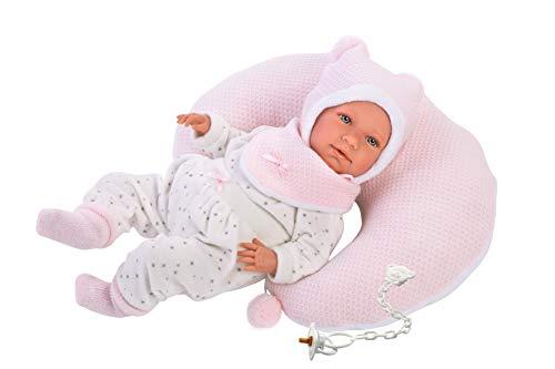 Puppenmädchen Mimi mit blauen Augen und weichem Körper, Babypuppe im rosa Schlafanzug, inklusive Kissen, Schnuller und Schnullerkette, 42 cm