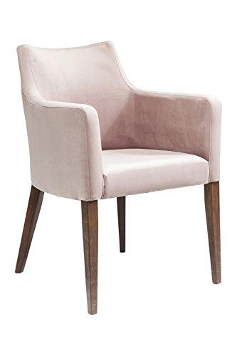 KARE Design Armlehnstuhl Mode Velvet Rose 82468, Stuhl mit Samt Bezug, Polsterstuhl Pink, Füße Buche massiv, Nussbaum lackiert