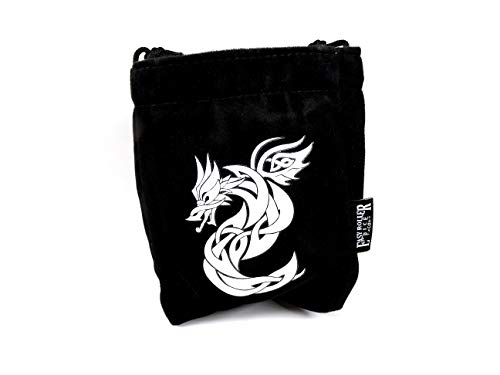 Microfiber Large Dice Bag - Truly Reversible with Celtic Knot Dragon Image on Each Side - Stands Up on its Own and Holds 200+ Dice