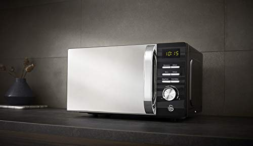 Swan 700W Black Symphony Digital Microwave, 20L Capacity, 5 Microwave Power Levels, Defrost and Reheat Settings, 60…