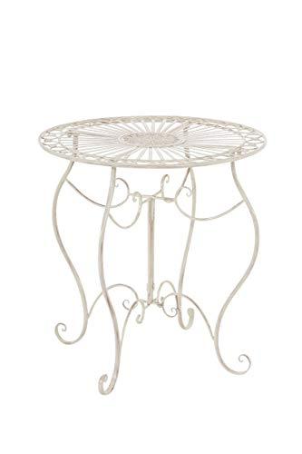 CLP Eisentisch Indra Design I Gartentisch mit geschwungenen Beinen I erhältlich, Farbe:antik-Creme