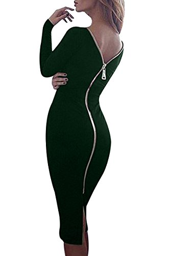 YMING Damen Stretchkleid Reißverschluss Hinten Langarm Rund Ausschnitt Knielang Rückenfreies Partykleid,Dunkel Grün,M/DE 38-40