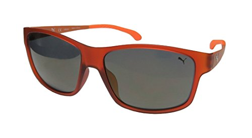 Puma 15187 For Men Mirrored Lenses Genuine Signature Emblem High-end Hip Sunnies Shades TIGHT-FIT Designed For Running/Gym/Sports Activities Sunglasses/Eyewear (57-15-140, Brown/Orange)