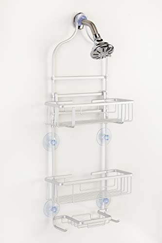 Large Aluminum Shower Caddy With Adjustable Shelf Rustproof  Holds Large Family Size Bottles 29quot x 12quot x 4quot