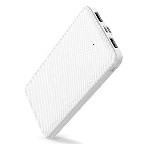 モバイルバッテリー 大容量 12000mAh 2A急速充電 スマホ充電器 2USBポート MicroとType-C入力ポート 2台同時充電 携帯充電器 iPhone iPad Android対応PSE認証済ホワイト