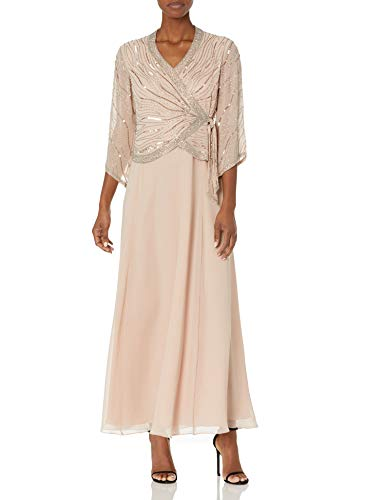 J Kara Women's Long 3/4 Sleeve V-Neck Beaded Faux Wrap Dress, Blush/Silver, 12 (Apparel)