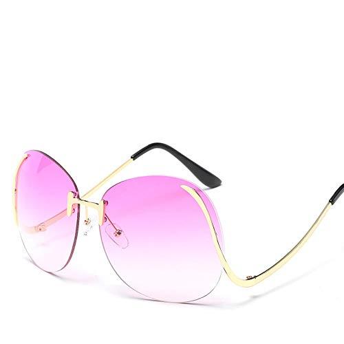 chuanglanja Gafas De Sol Mujer Joven Mujeres/Hombres Gafas De Sol Al Aire Libre Gafas De Sol De Gran Tamaño Mujeres Gafas De Tinte Degradado Flexión De La Pierna UV400-Color-F
