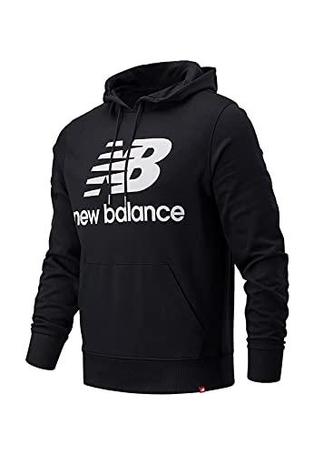 New Balance Herren Hoodie ESSENIALS Stacked Logo Hoodie MT03558 BK Schwarz, Größe:XXL