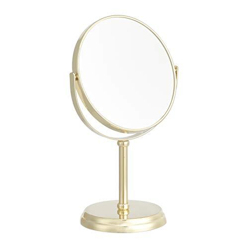 AmazonBasics – Kosmetikspiegel, Vergrößerung 1-fach/5-fach, goldfarben
