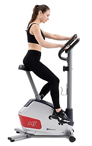 Hop-Sport Heimtrainer Fahrrad HS-035H Leaf - Fitnessbike für Zuhause mit Pulssensoren und Computer, Magnetbremse, Schwungmasse 8 kg - Ergometer für EIN max. Nutzergewicht von 135kg Silber