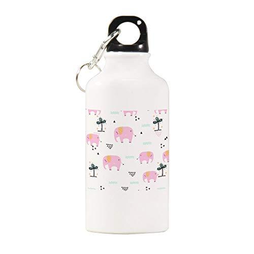 qidushop Botella de agua deportiva, diseño de elefante, 400 ml, multicolor, para oficina, trabajo, yoga, bicicleta, camping, deportes, botella de agua
