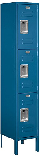 Salsbury Industries 63152BL-U Triple Tier 12-Inch Wide 5-Feet High 12-Inch Deep Unassembled Standard Metal Locker, Blue