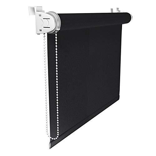 Victoria M. Klemmfix Verdunkelungsrollo ohne Bohren Rollo 100 x 150 cm, Schwarz, Seitenzugrollo Verdunkelung für Fenster und Türen